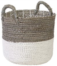 Block & Chisel round grey seagrass and white raffia basket