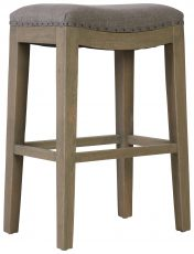 Block & Chisel grey linen upholstered stool with wooden legs