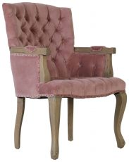 Block & Chisel pink velvet upholstered carver chair