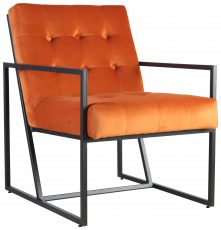 Block & Chisel orange velvet upholstered occasional chair with metal frame