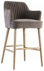 Block & Chisel grey upholstered barstool with oak wood legs