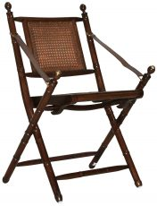 Block & Chisel rattan folding chair with brass knobs