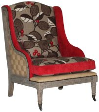 Block & Chisel red upholstered occasional chair with floral detail