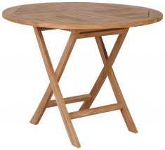 Block & Chisel round teak folding dining table