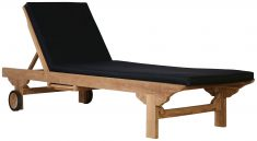 Block & Chisel teak lounger with black cushion