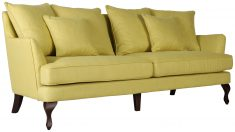 Block & Chisel yellow linen upholstered 3 seater sofa