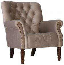 Block & Chisel beige upholstered button tufted lounge chair