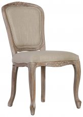 Block & Chisel linen upholstered dining chair with birch wood legs