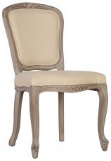 Block & Chisel cream linen upholstered dining chair with birch wood legs