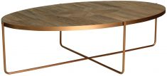 Block & Chisel oval stainless steel coffee table with recycled elm top