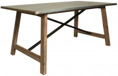 Block & Chisel rectangular recycled fir wood dining table with zinc top