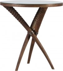 Block & Chisel round wooden side table with antique mirror top