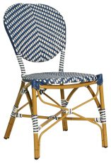 Block & Chisel blue and white PE rattan dining chair with Aluminium Bamboo frame