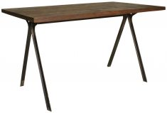 Block & Chisel rectangular wooden dining table with iron legs