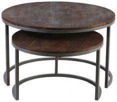 Block & Chisel round wooden nesting coffee tables with iron bases