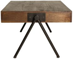 Block & Chisel rectangular wooden coffee table with iron base