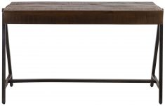 Block & Chisel rectangular wooden console with iron legs