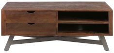 Block & Chisel rectangular wooden TV stand with iron base