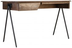 Block & Chisel rectangular wood desk with iron legs