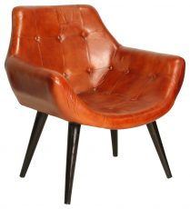 Block & Chisel brown goat leather upholstered tub chair with iron legs