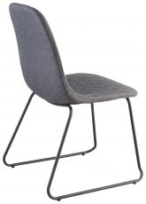 Block & Chisel grey quilted linen dining chair with metal tube legs