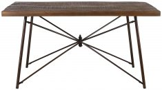 Block & Chisel rectangular wooden dining table with iron base