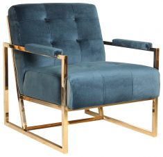 Block & Chisel blue upholstered velvet occasional chair with stainless steel legs
