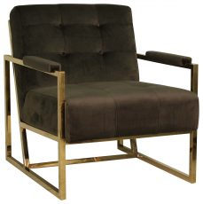 Block & Chisel charcoal upholstered velvet occasional chair with stainless steel legs