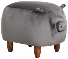 Block & Chisel grey velvet upholstered pig stool with wooden walnut legs