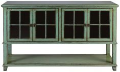 Block & Chisel green distressed wooden drinks cabinet with glass doors