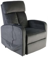Block & Chisel grey velvet upholstered recliner