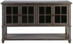 Block & Chisel grey distressed wooden drinks cabinet with glass doors