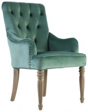 Block & Chisel olive green linen upholstered dining chair with button tufted backrest