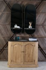 Block & Chisel oval mirror with mirrored shelf