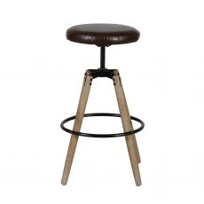 Block & Chisel round swivel barstool with leather seat and wooden legs