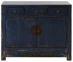 Block & Chisel blue three door Chinese sideboard with 2 drawers