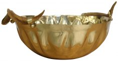 Block & Chisel round brass bowl with horns
