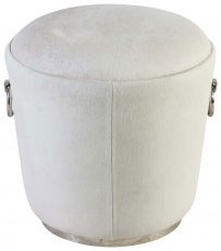 Block & Chisel round pouf with bovine skin and steel base