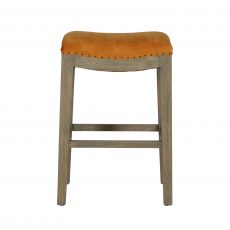 counter stool with oak legs and mustard upholstery