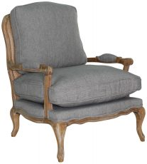Block & Chisel grey upholstered french inspired armchair