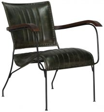 Block & Chisel green goat leather upholstered dining chair with iron frame