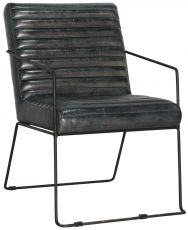 Block & Chisel black goat leather upholstered dining chair with iron frame