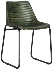 Block & Chisel green goat leather upholstered chair with iron frame