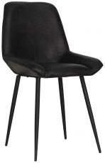 Block & Chisel black goat leather upholstered dining chair with iron legs