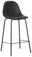 Block & Chisel black faux leather barstool with polyurethane metal legs