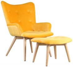 Block & Chisel yellow upholstered lounge chair with stool