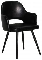 Block & Chisel black faux leather deco chair with black polyurethane metal legs