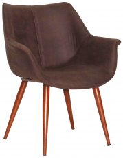 Block & Chisel brown upholstered deco chair with pointed metal legs