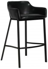 Block & Chisel black faux leather barstool with black polyurethane metal legs