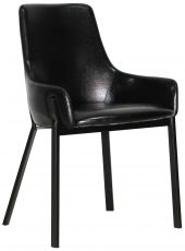 Block & Chisel black faux leather dining chair with black polyurethane metal legs